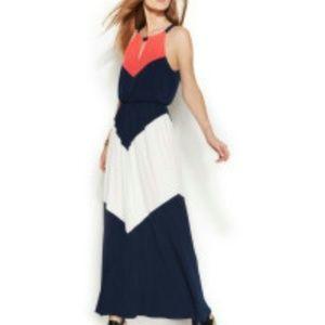 Vince Camuto Color block chevron halter maxi dress